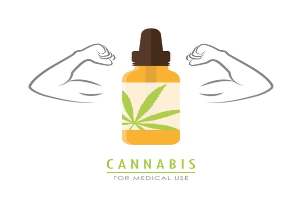 strong cannabis oil with muscular arms